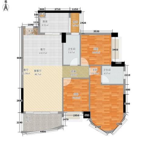 星晖园3室1厅2卫1厨120.00㎡户型图
