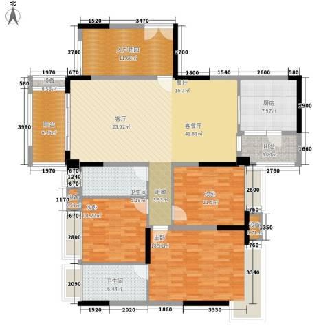 保利中环广场3室1厅2卫1厨144.00㎡户型图