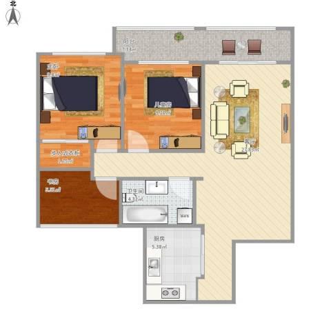 样板(龙湾府95㎡)3室1厅1卫1厨97.00㎡户型图