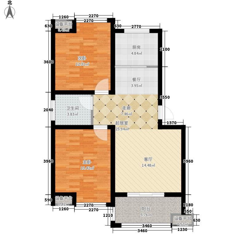 骏和・玲珑湾78.00㎡骏和・玲珑湾户型图三期c3户型2室2厅1卫1厨户型2室2厅1卫1厨