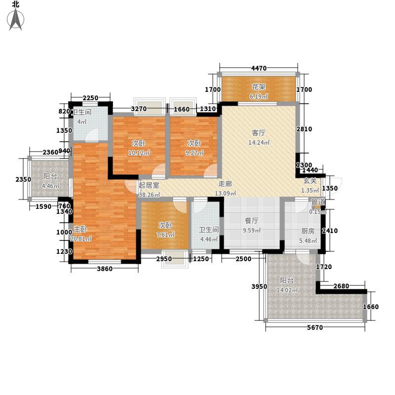 春天国际142.71㎡7栋标准层D1户型4室2厅2卫1厨