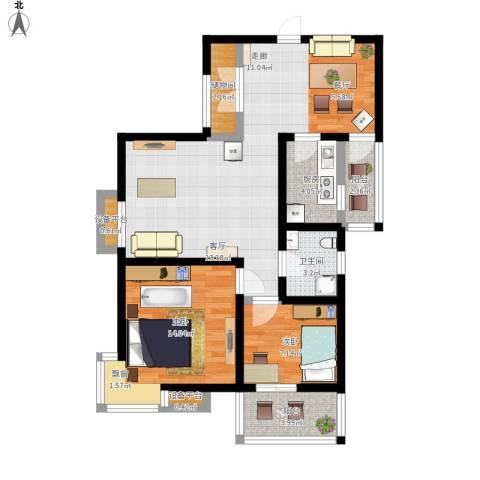 双维花溪湾2室1厅1卫1厨101.00㎡户型图