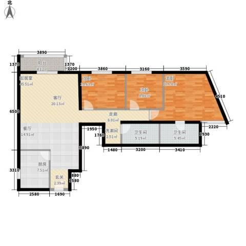 电子城小区3室0厅2卫1厨118.00㎡户型图