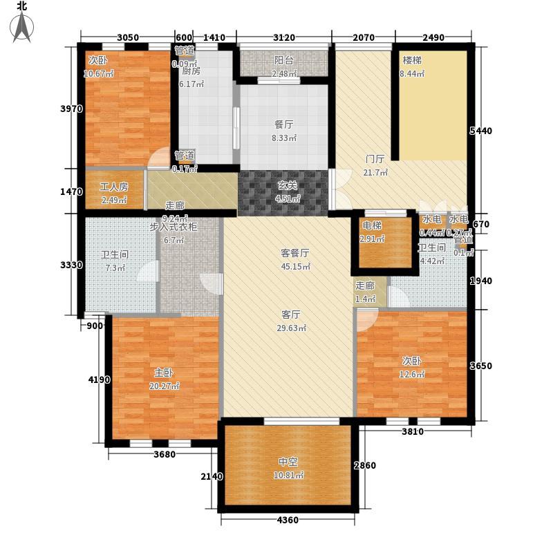 中山御庭168.00㎡3室户型3室2厅2卫