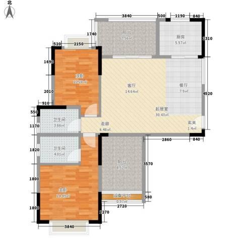龙凤春晓2室0厅2卫1厨120.00㎡户型图