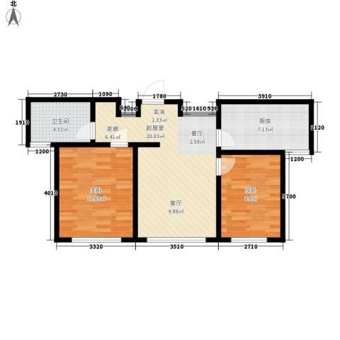 上城左岸2室0厅1卫1厨74.00㎡户型图