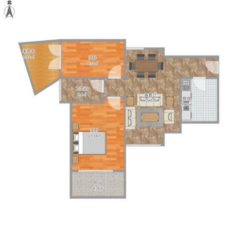 雅居乐约克郡2室1厅1卫1厨85.00㎡户型图