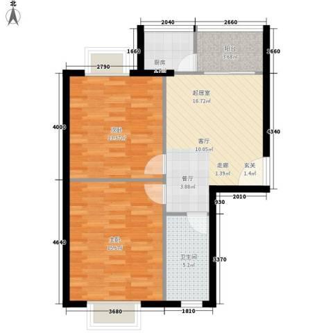 翡翠园2室0厅1卫1厨64.00㎡户型图