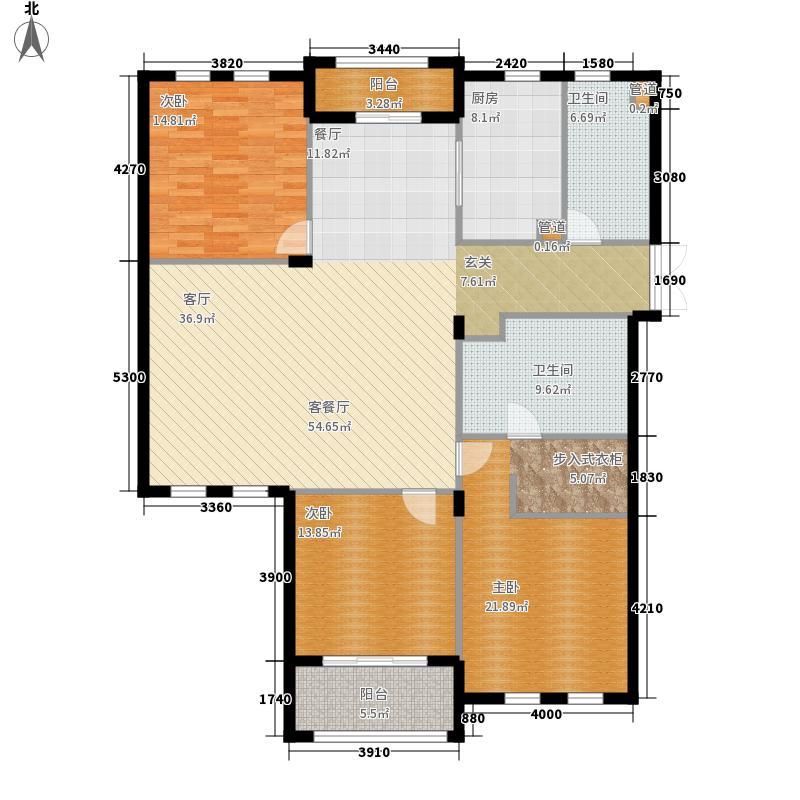 中山御庭153.00㎡3室户型3室2厅2卫