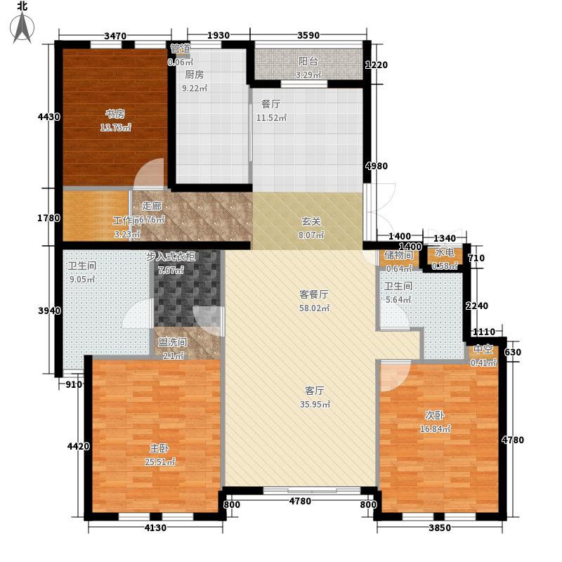 中山御庭162.00㎡3室户型3室2厅2卫