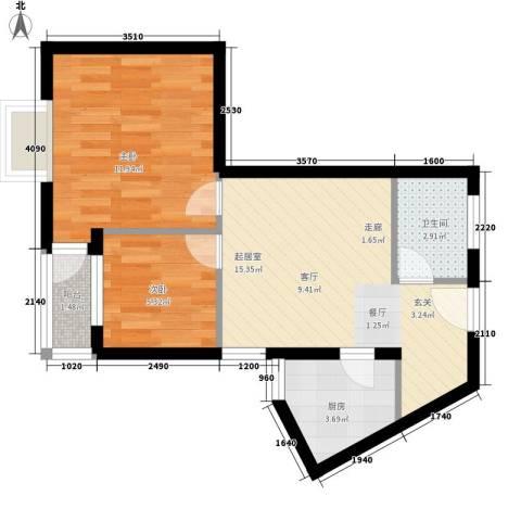 翡翠园2室0厅1卫1厨47.00㎡户型图