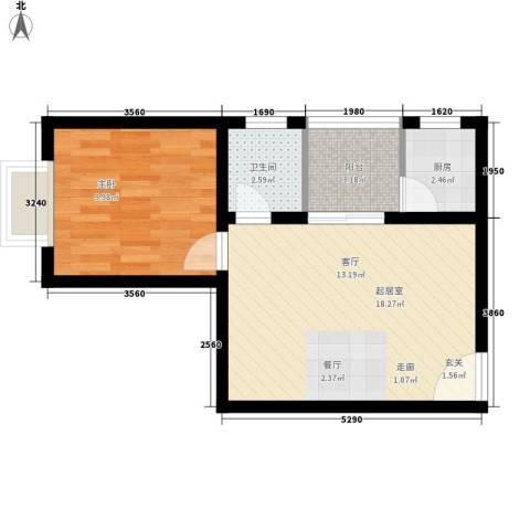 翡翠园1室0厅1卫1厨42.00㎡户型图
