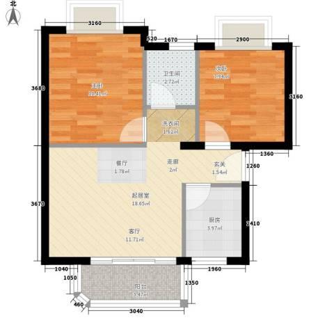 翡翠园2室0厅1卫1厨68.00㎡户型图