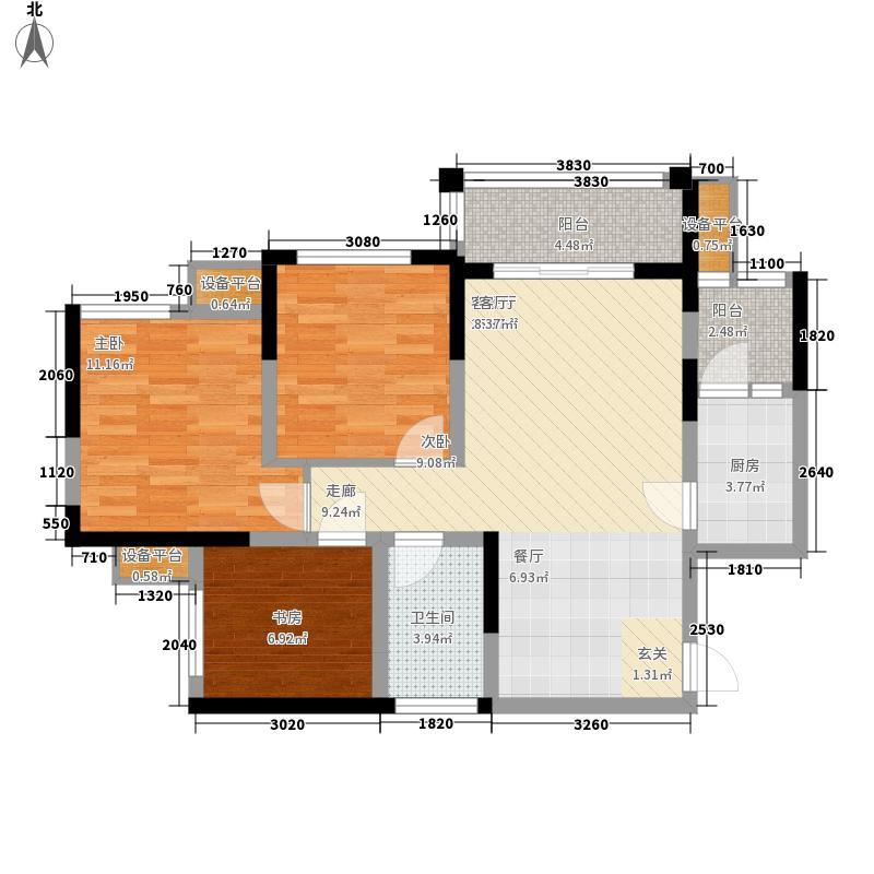 中胜世家国际社区83.00㎡一期标准层B1户型3室2厅1卫1厨