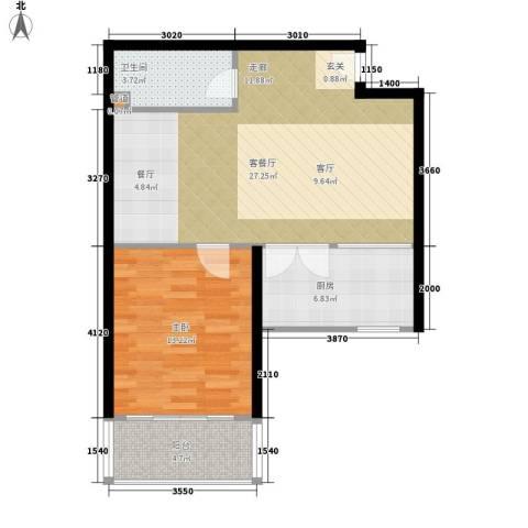 阳光山海湾1室1厅1卫1厨62.00㎡户型图