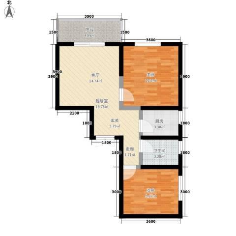 山水华城2室0厅1卫1厨81.00㎡户型图