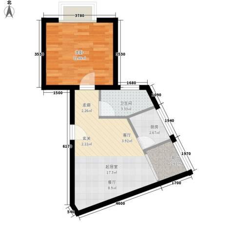 翡翠园1室0厅1卫1厨54.00㎡户型图