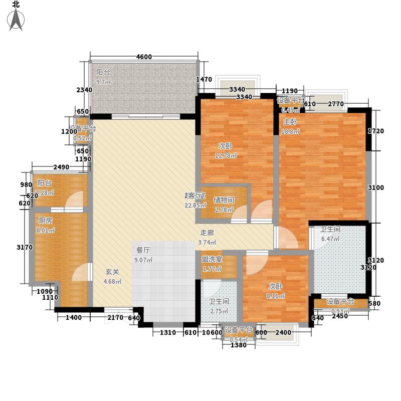 瑞泰锦城136.00㎡2、4栋B户型标准层户型3室2厅2卫1厨