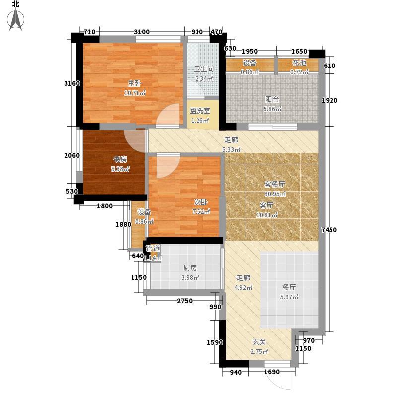 昊园江南壹品82.00㎡7号楼E标准层户型3室2厅1卫1厨