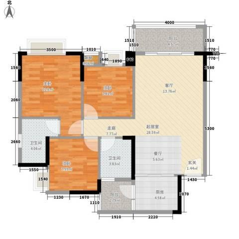 御品泰景3室0厅2卫1厨80.00㎡户型图