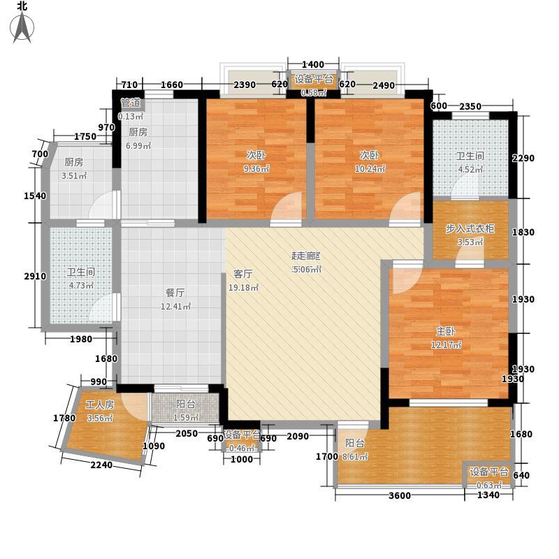 瑞泰锦城136.00㎡6栋B户型标准层户型4室2厅2卫1厨