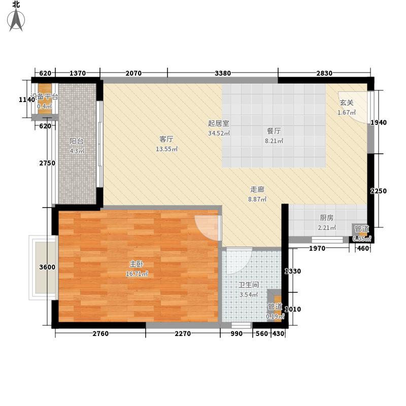 丽冠雅居66.05㎡丽冠雅居户型图1/2#楼D户型1室2厅1卫1厨户型1室2厅1卫1厨