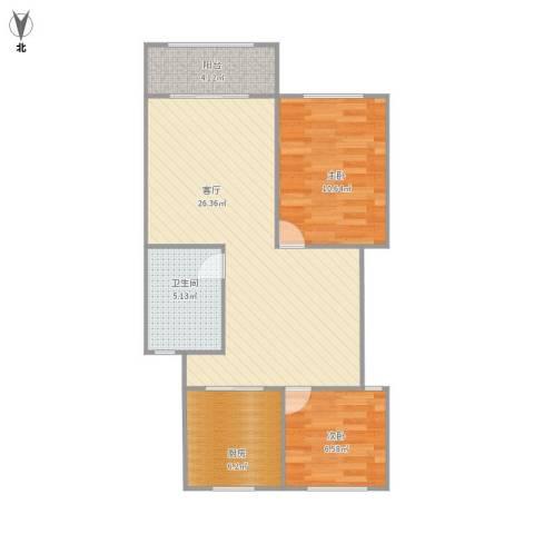 共康六村2室1厅1卫1厨79.00㎡户型图