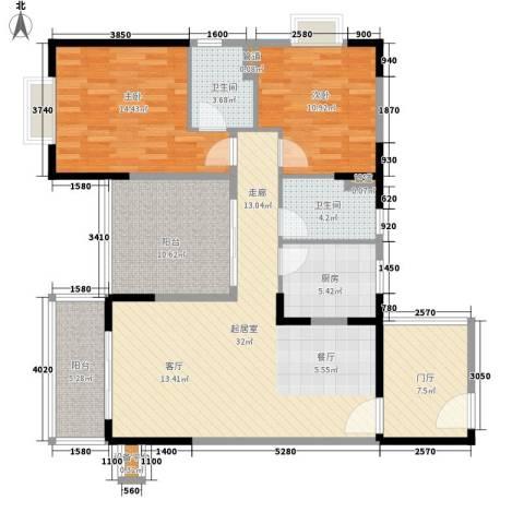 丽冠雅居2室0厅2卫1厨107.00㎡户型图