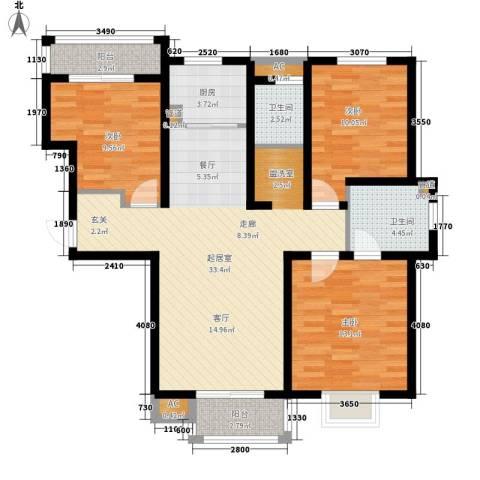行政学院宿舍3室0厅2卫1厨98.00㎡户型图