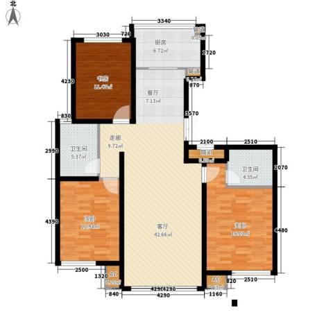 大爱国际3室1厅2卫1厨143.00㎡户型图