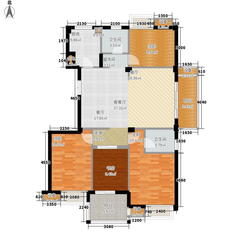 世欧彼岸城159.00㎡世欧彼岸城户型图B9#、B17#J户型4室2厅2卫1厨户型4室2厅2卫1厨