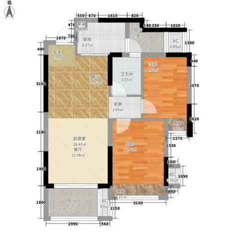 幸福码头2室0厅1卫1厨74.00㎡户型图