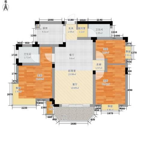 仰天湖社区3室0厅2卫1厨79.00㎡户型图