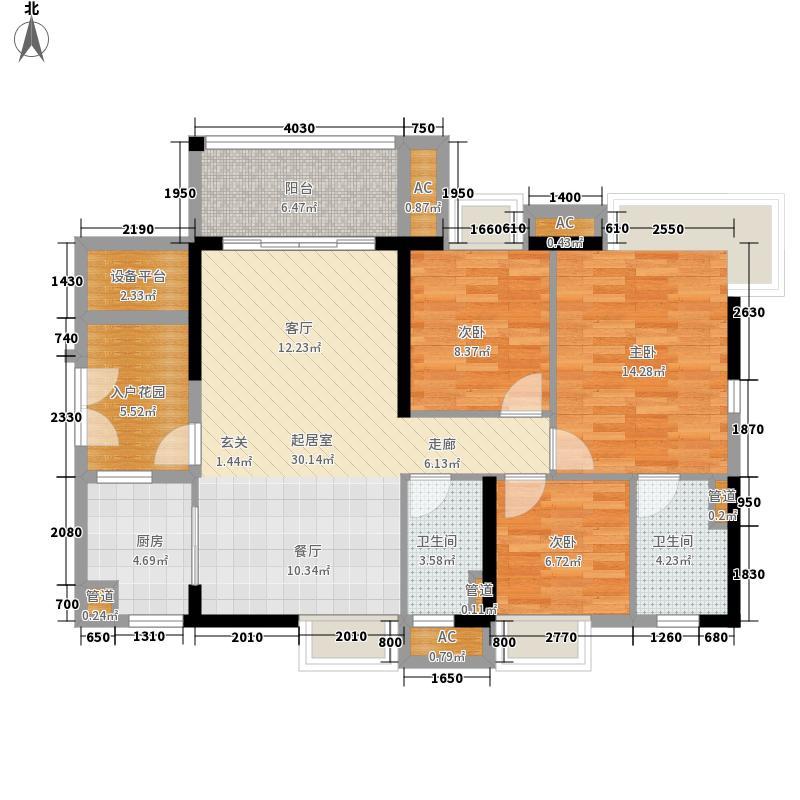 御金沙103.00㎡依山谷3栋02单位户型3室2厅