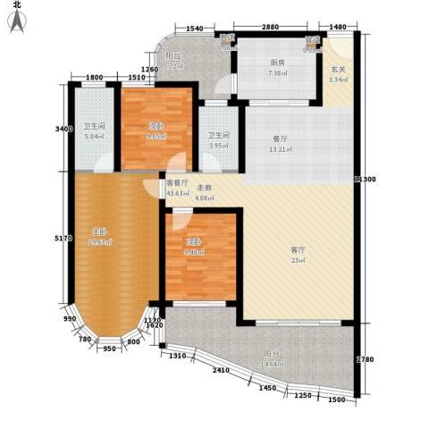滨江豪园3室1厅2卫1厨135.00㎡户型图
