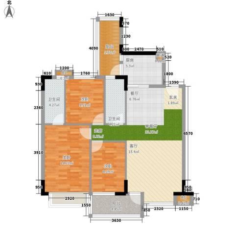 蓝色海岸3室1厅2卫1厨98.00㎡户型图