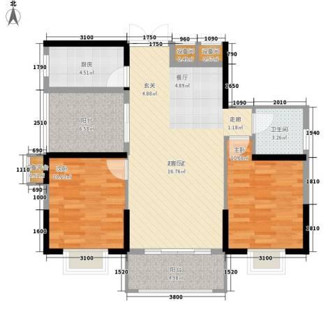 钱隆学府二期2室0厅1卫1厨88.00㎡户型图