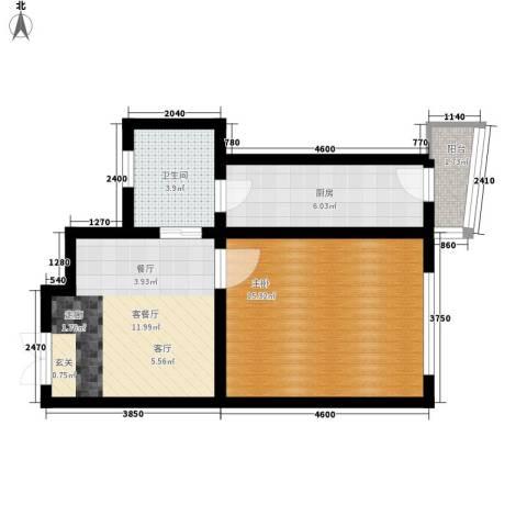 鑫隆帝豪1室1厅1卫1厨62.00㎡户型图