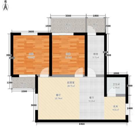 山水华城2室0厅1卫1厨104.00㎡户型图