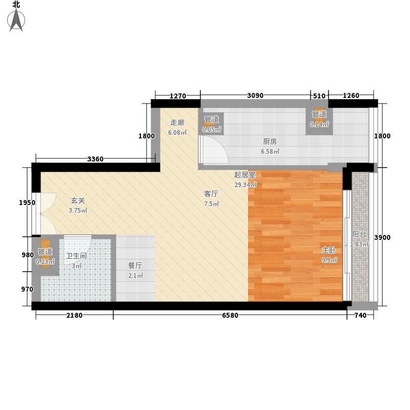 武夷花园55.17㎡小区3号楼264单元D户型1厅1卫1厨