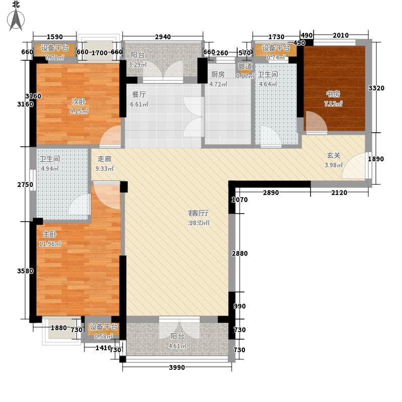 奥山世纪城奥山世纪城户型图C3户型-117.08三房两厅一卫户型10室