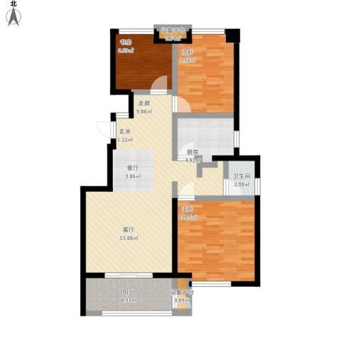 锦绣天下3室1厅1卫1厨111.00㎡户型图