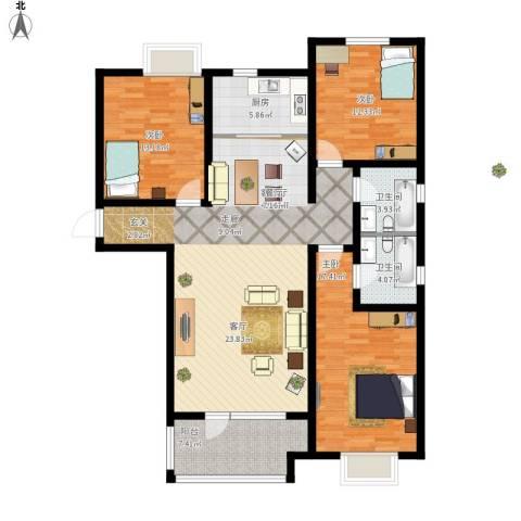 幸福城3室1厅2卫1厨152.00㎡户型图