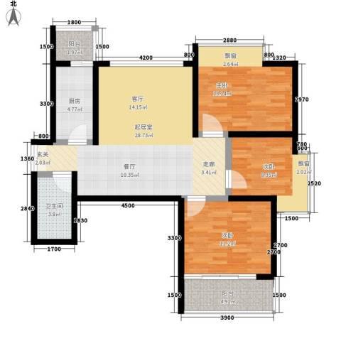 山水华城3室0厅1卫1厨111.00㎡户型图