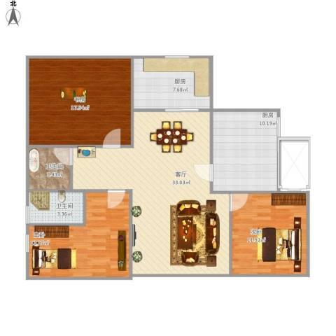 东台海陵首府3室1厅2卫2厨134.00㎡户型图
