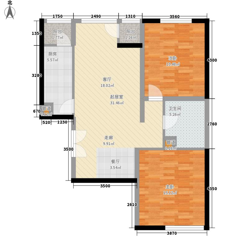 武夷花园5.11㎡小区1#260单元02户型2室2厅1卫1厨