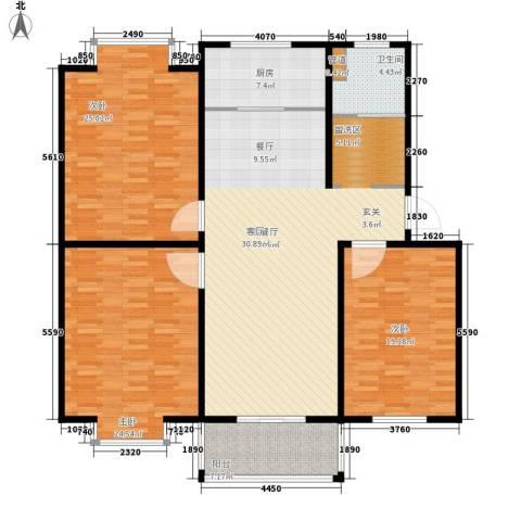 华宇未来城3室1厅1卫1厨151.00㎡户型图
