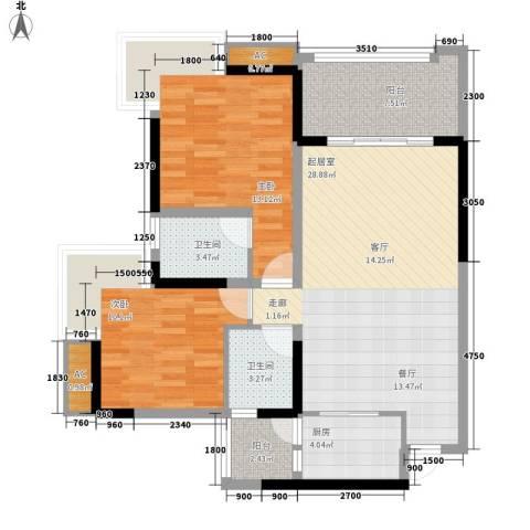 南源居2室0厅2卫1厨78.00㎡户型图