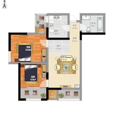 上榀坐2室1厅1卫1厨96.00㎡户型图
