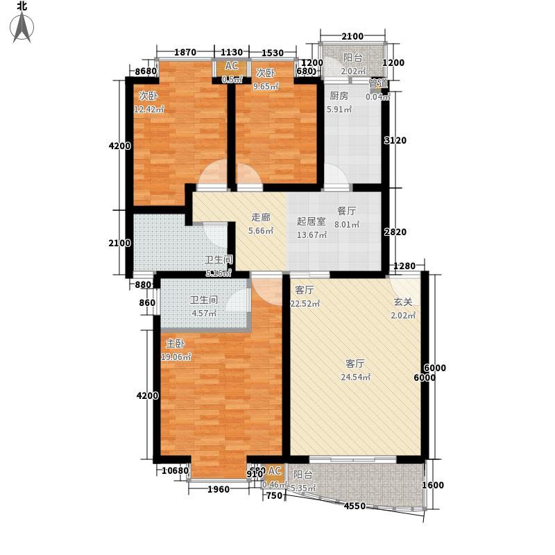 美丽庭院123.35㎡A型户型3室2厅2卫1厨